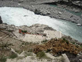 The dammed Hunza River has started flowing again but not fast enough