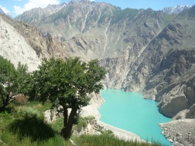 A view of the dammed Hunza River from Attabad
