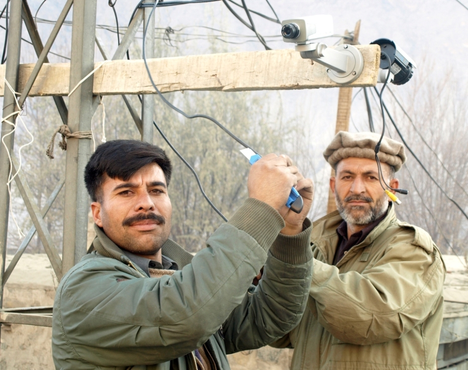 CCTV Cameras are being installed in Gilgit city as part of the security measures undertaken to avert any untoward incident during the month of Muharram, ahead of Ashura processions. Photo: Farman Karim Baig