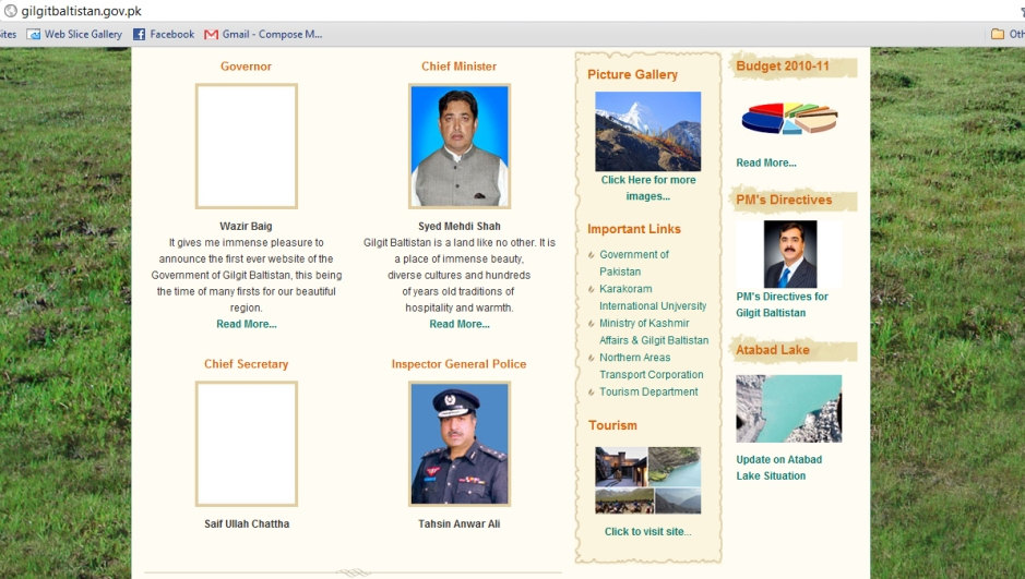 Main page of the GB Government website has been updated, apparently after the report published by Pamir Times. We appreciate the relevant persons for listening to the voice of the people. ~ Team Pamir Times