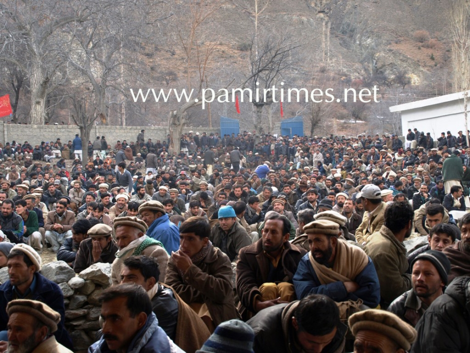 Participants listening to speakers at Ghulmet Nagar during a grand protest demonstration. Image: Mon Digital