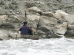 An alternate river crossing mechanism after a bridge was washed away at Haim, Fauzia' village