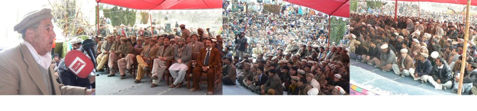 Governor Karam Ali Shah addressing a gathering during his first visit of Chatorkhand, his native village