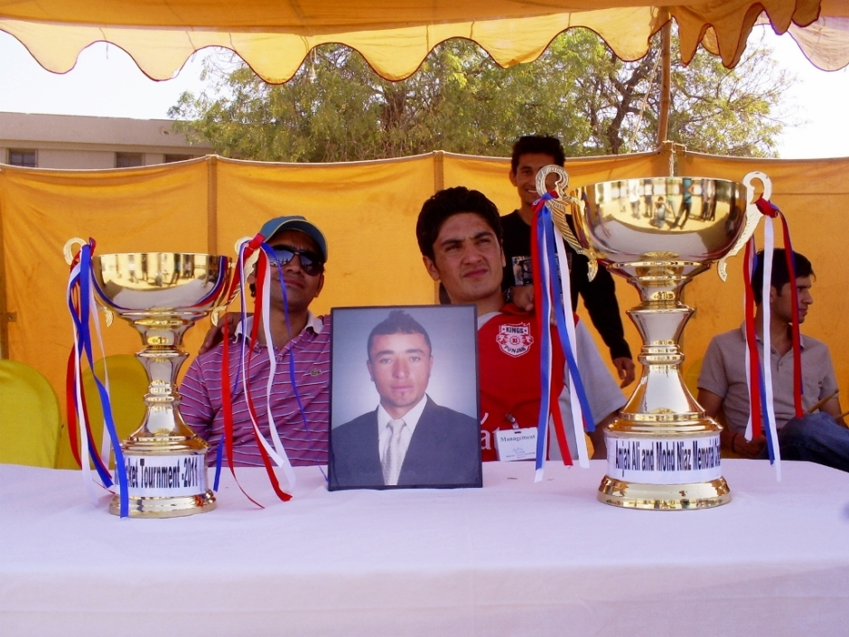 Trophies with photograph of Late Mohd Niaz, a brilliant sportsman who passed away due to cardiac arrest last year.