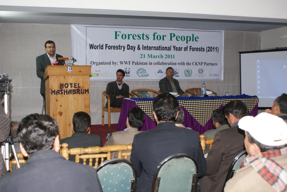 A speaker addresses the seminar held in Skardu