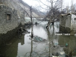 Water level in the dammed Hunza River is gradually dropping after the spillway blockade was removed today by FWO