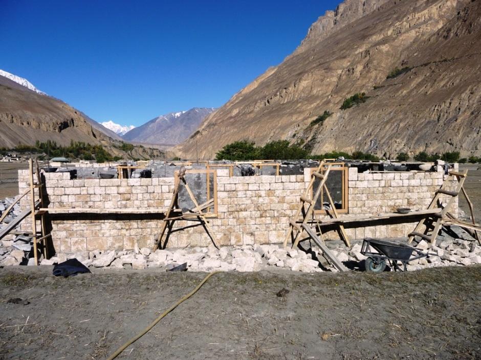 The under-construction basic health centre at Shimshal