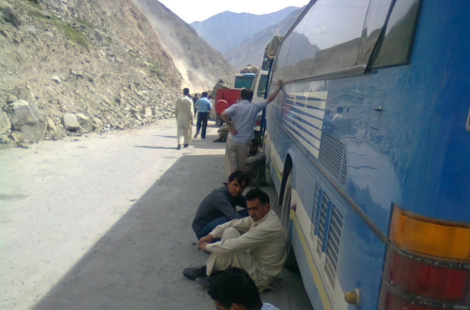 Commuters stranded at the KKH today due to blasting during the day time
