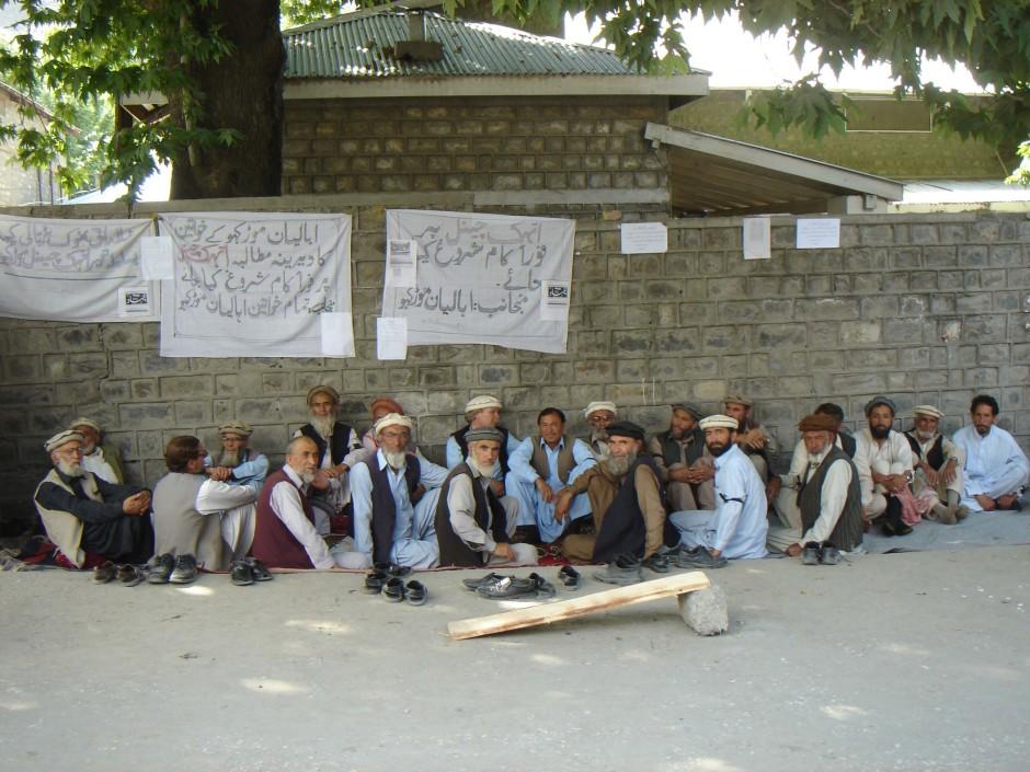 Representatives of Mulko Tehsil during a token hunger strike in Chitral