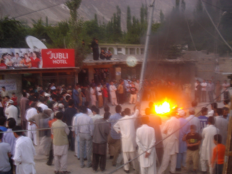 Hunza: A group of people protesting in Aliabad Hunza to condemn the violence in Gojal Valley