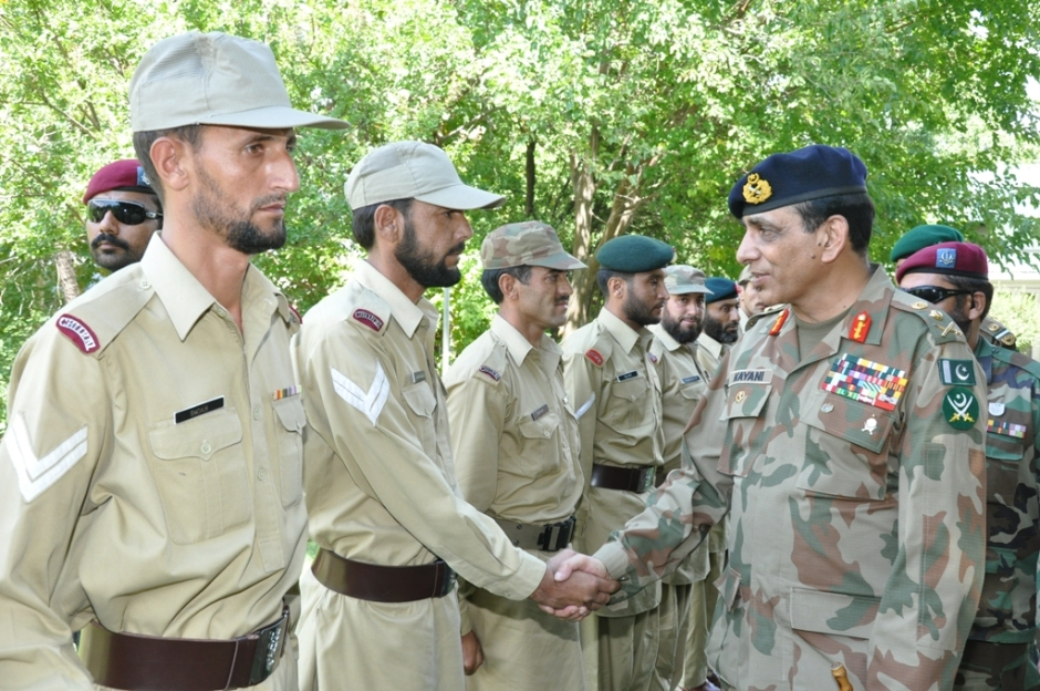 Chief of Army Staff (COAS), General Ashfaq Parvez Kayani visited Chitral and surrounding areas today. His visit was in the backdrop of recent incidents wherein large number of Afghan terrorists attacked few posts of Chitral Scouts. The aggressors were pushed back successfully without resort to excessive force, to avoid civilian casualties on Afghan side. COAS interacted with the troops and commended their bravery, steadfastness and restraint. He also met the tribal elders and appreciated their cooperation. Earlier on arrival at Chitral COAS was received by Corps Commander Lieutenant General Asif Yasin Malik.  Source: ISPR