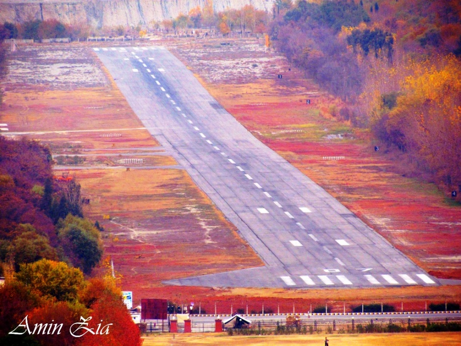 A beautiful autumn view of the Gilgit airport strip from the heights of Barmas
